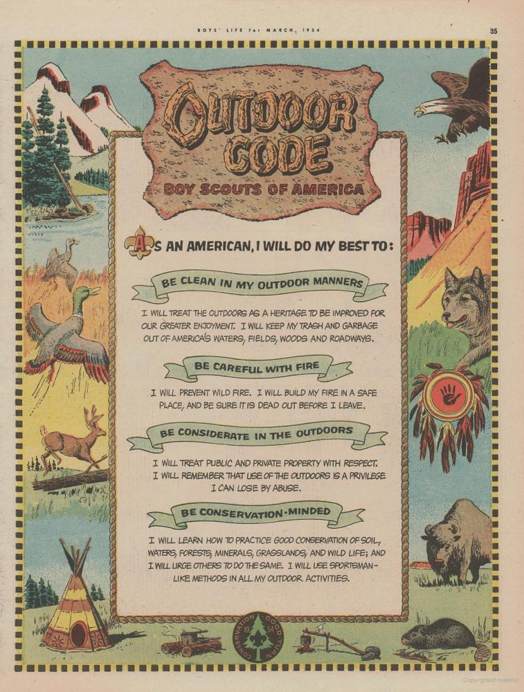 photo regarding Outdoor Code Printable referred to as Outside Code - Out of doors Ethics BSA